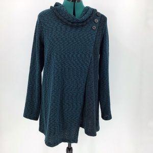 Habitat Teal & Brown Tweed Cowl Neck Wrap Sweater